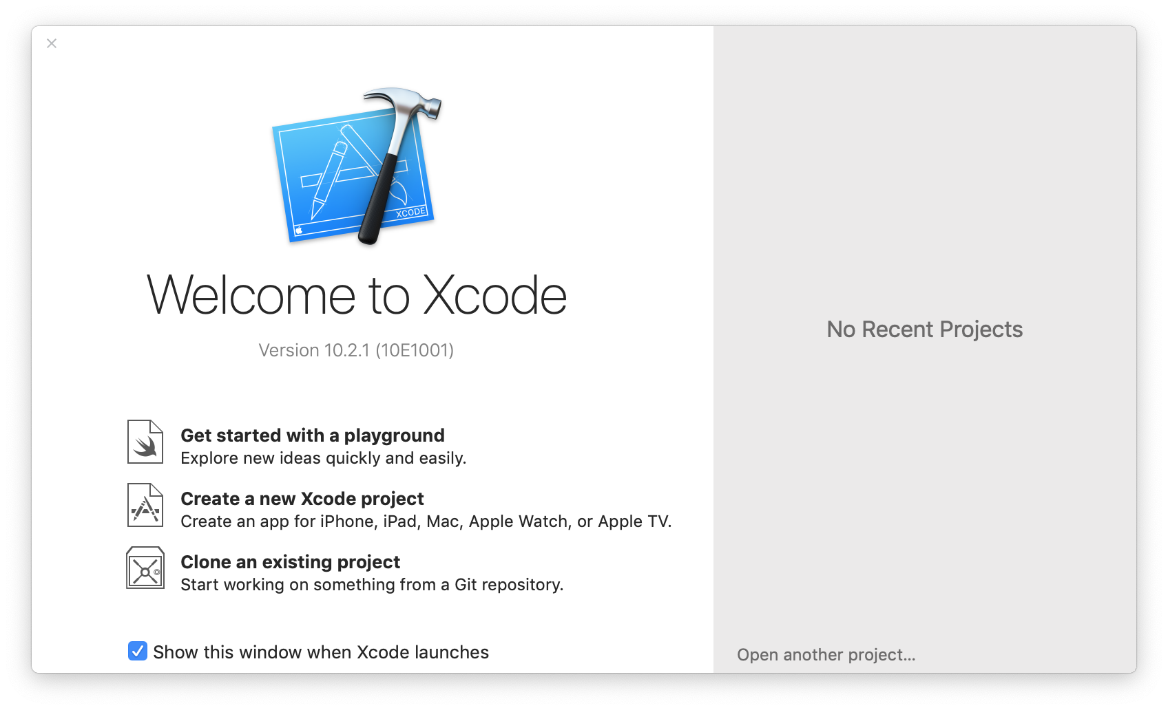 Welcome to Xcode window screenshot