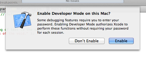 Xcode's 'enable developer mode' confirmation window